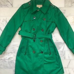 Michael Kors Green Belted Rain Jacket-Medium
